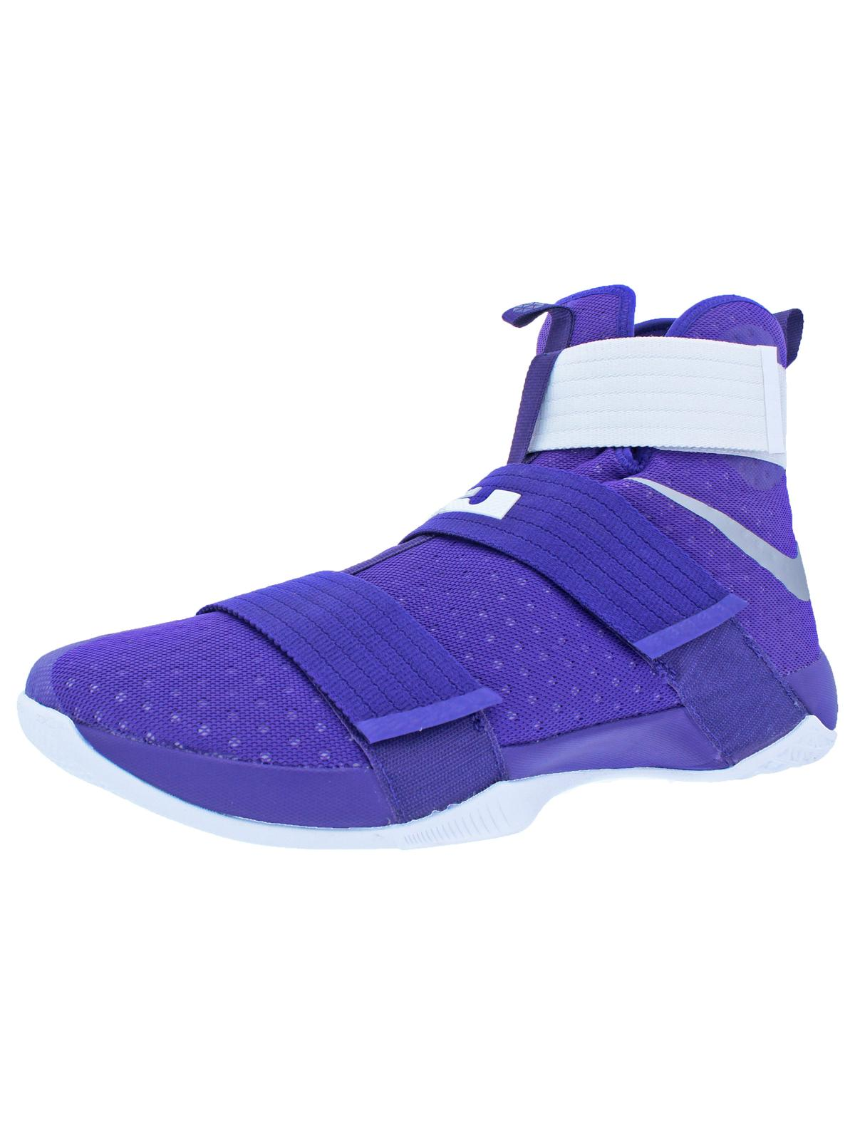 Nike LeBron Soldier 10 Men's Mesh High-Top Basketball Shoes Purple Size 18