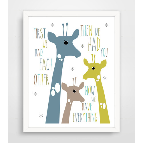Finny and Zook First We Had Each Other Blue Giraffe Paper Print