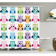 Nursery Shower Curtain Colorful Collection Friendly Owl Birds With Diffe Face Expressions Comic Cute