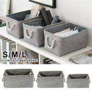 Size S Storage Bin Basket Box Linen Fabric Organizer Drawer Container Household