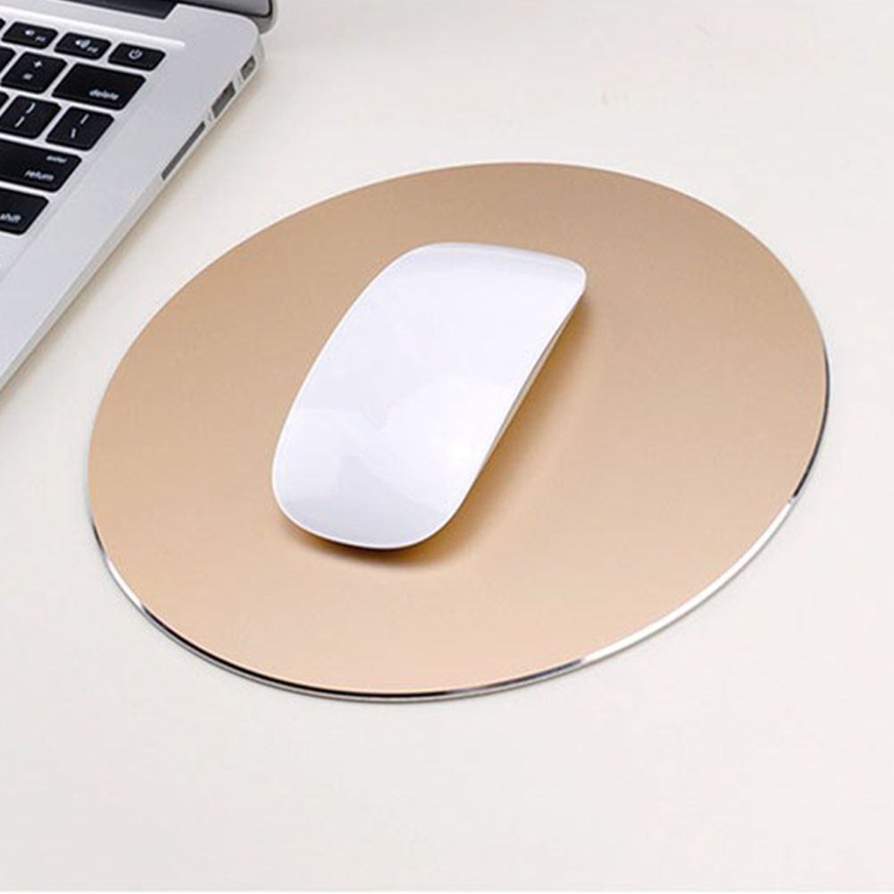 Round Mouse Mat Aluminum Anti Slip Rubber Bottom Gaming Mouse Pad Computer Accessory