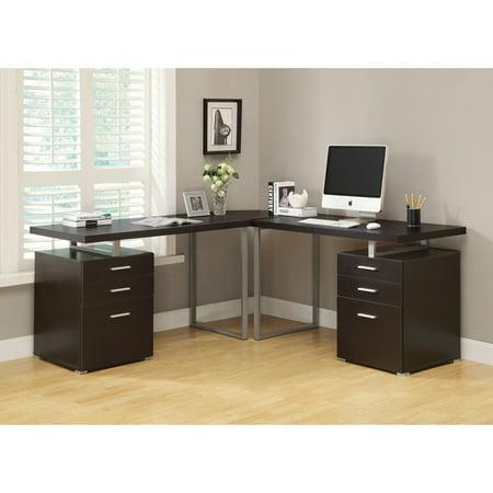 Monarch Specialties Cappuccino L Shaped Corner Desk