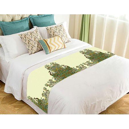 GCKG Beautiful Peacock Pattern Bed Runner Bedding Scarf Size 20x95 inches - image 2 de 2