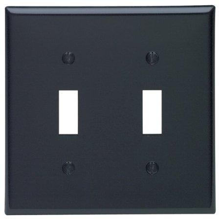 Leviton 80709-E Black Nylon Two Gang Toggle Light Switch Wall