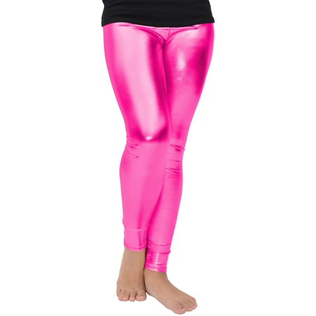 Girl's Metallic Leggings - Large (10) / Metallic Hot Pink (Leggings Hot Girl)
