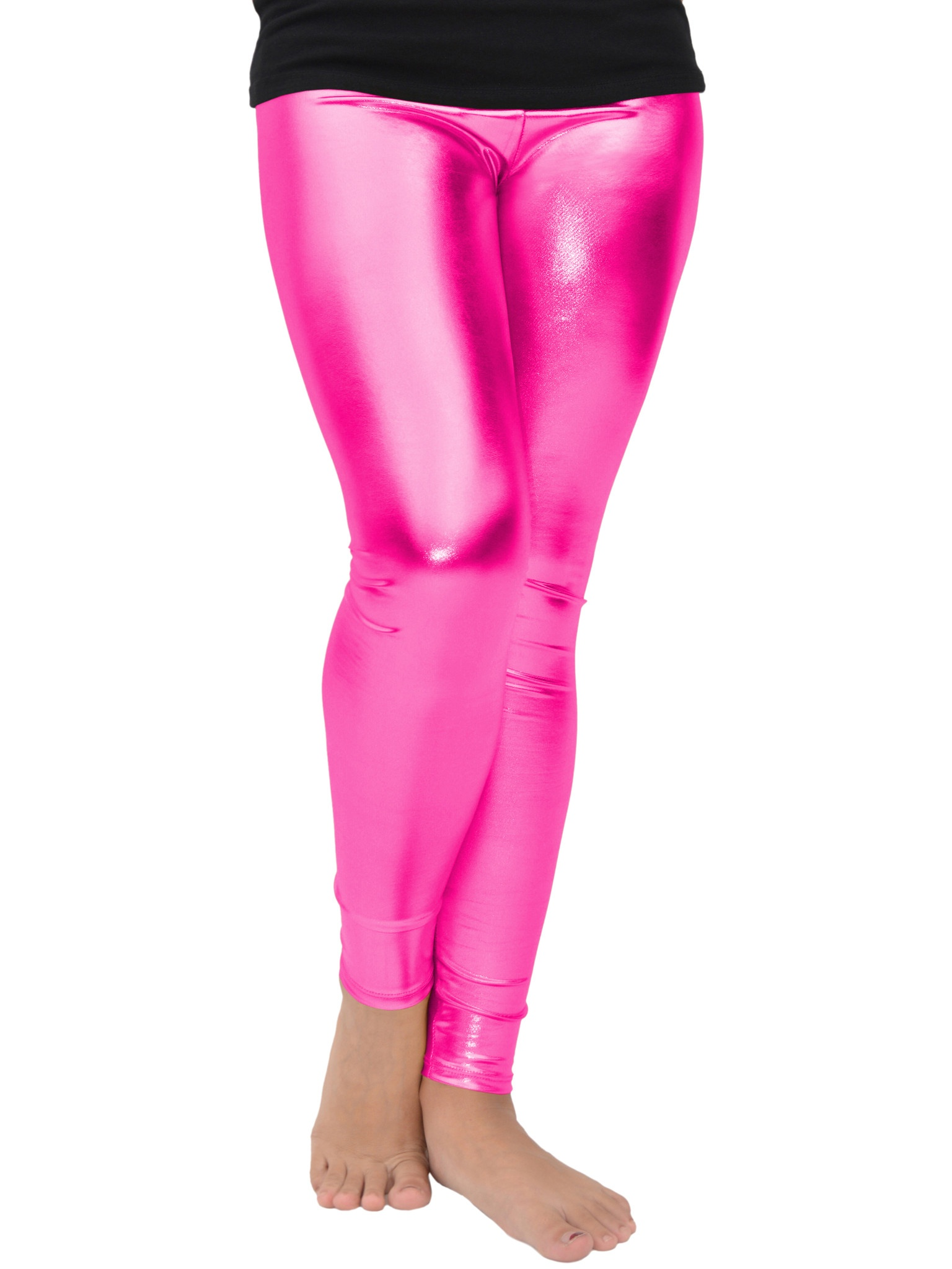 Girl's Metallic Leggings - Large (10) / Metallic Hot Pink