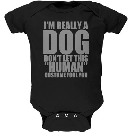 Halloween Human Dog Costume Black Soft Baby One Piece
