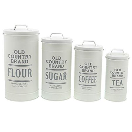 Barnyard Designs Decorative Nesting Kitchen Canisters with Lids Galvanized White Metal Rustic Vintage Farmhouse Country Decor for Flour Sugar Coffee Tea Storage (Large Set of 4)  ()