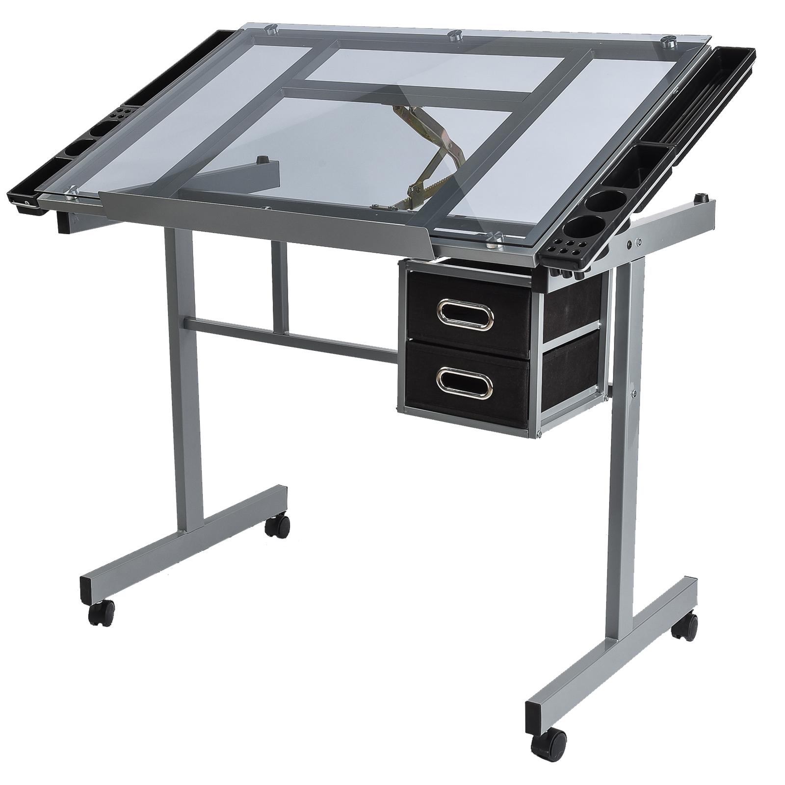 Mecor Tempered Glass Top Adjustable Drafting Table Art Craft Drawing Desk  With 2 Drawers And Wheels