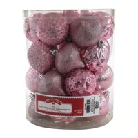 Holiday Time Shatterproof Ornaments, Pink, 26 Count