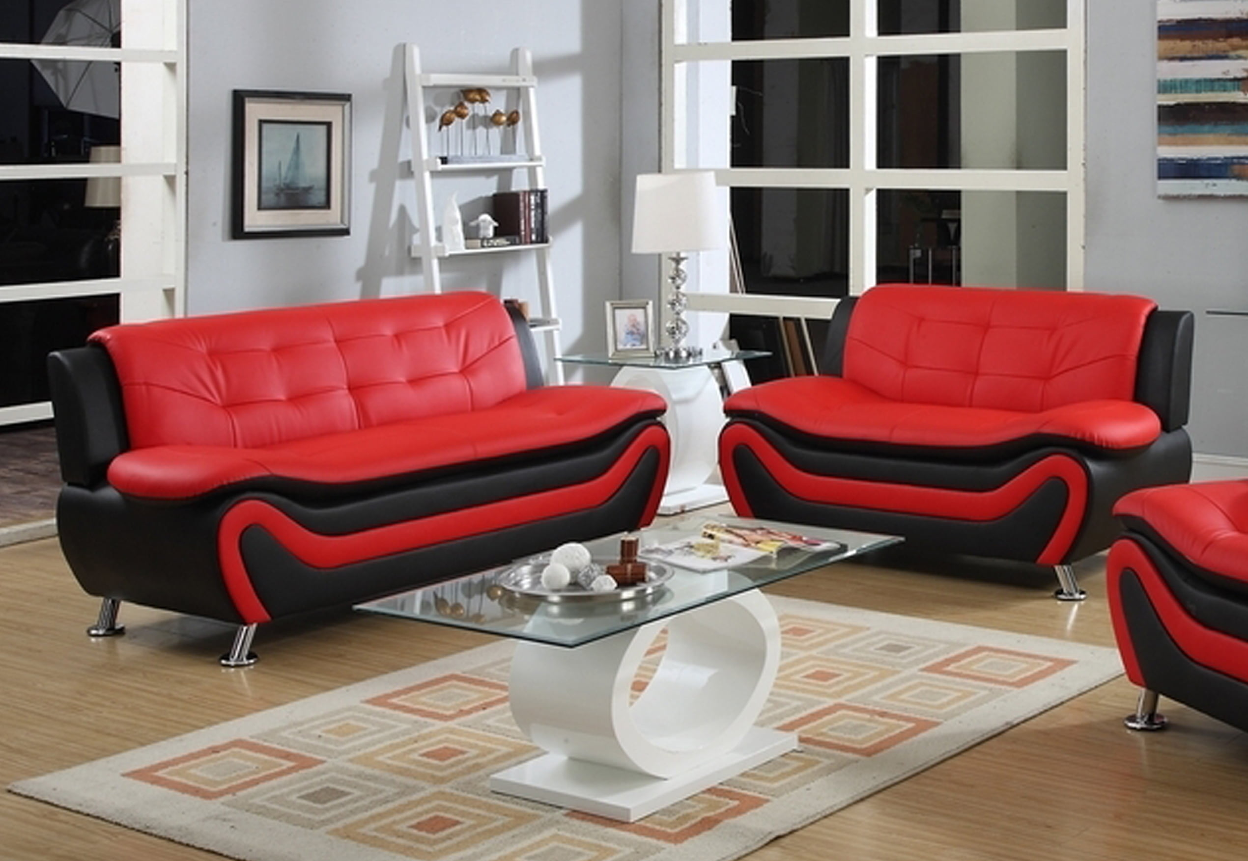 Frady 2 pc Black and Red Faux Leather Modern Living Room Sofa and ...