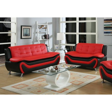 - Frady 2 pc Black and Red Faux Leather Modern Living Room Sofa and Loveseat set