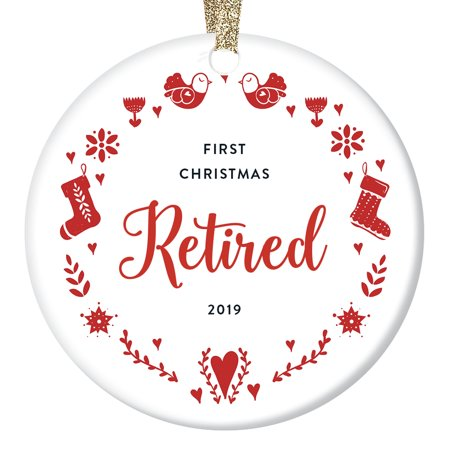 "Retirement Christmas Ornament 2019 Dated Keepsake Gift First Year Retired Mom Wife Sister Woman Coworker Work Party Present Teacher Nurse Holiday Wreath 3"" Ceramic Folk Art Home Decor OR0937 ()"