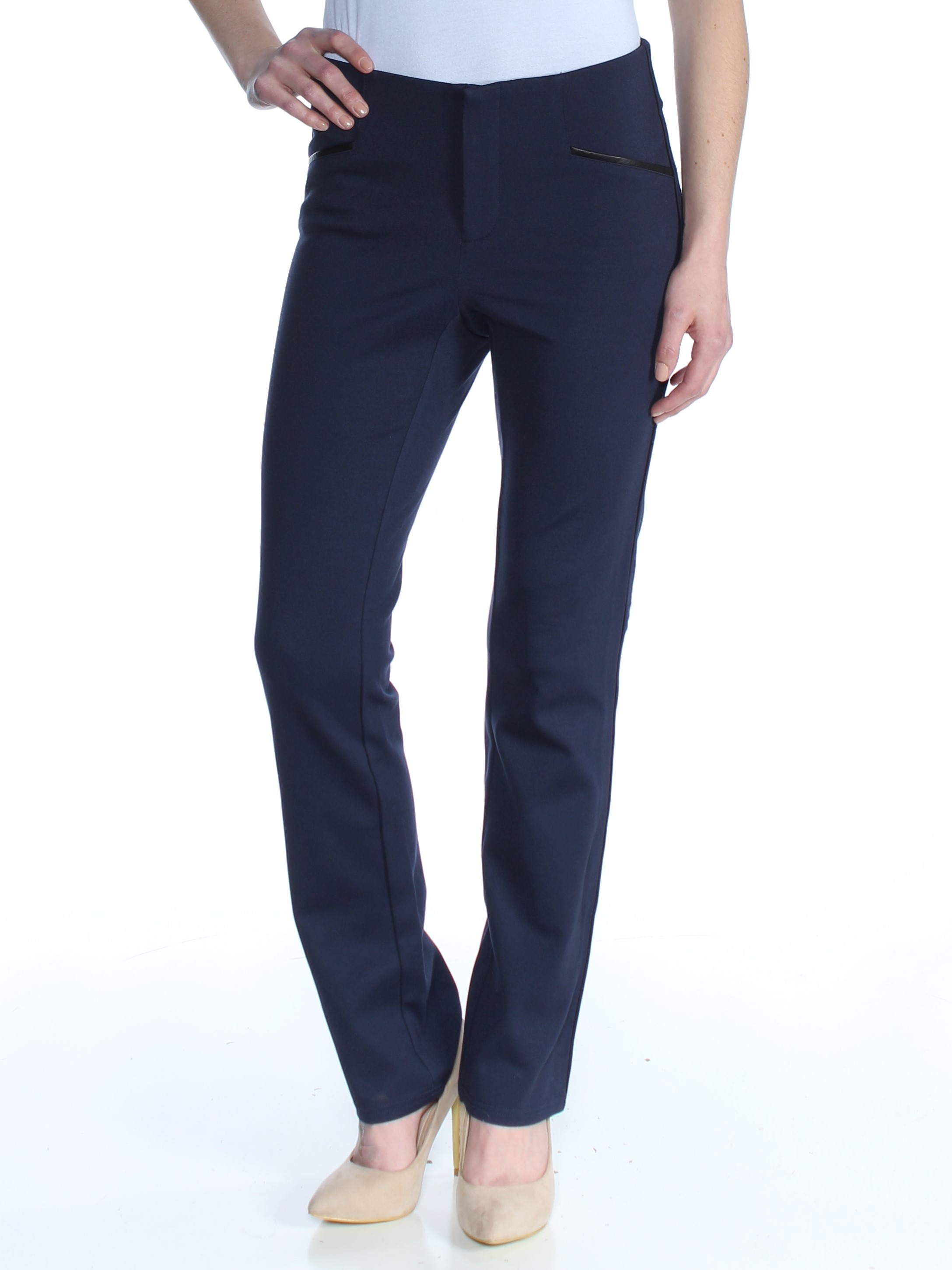 I-N-C Womens Faux-Leather Casual Trouser Pants