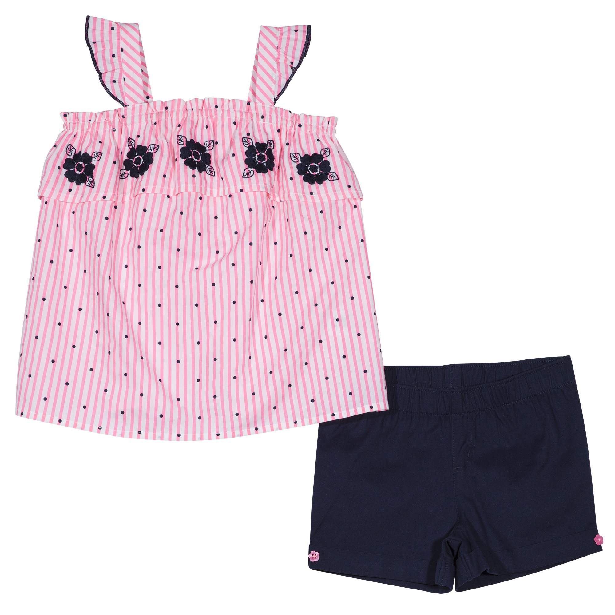 Healthtex Toddler Girl Embroidered Floral Tank Top & Pull-On Shorts, 2pc Outfit Set