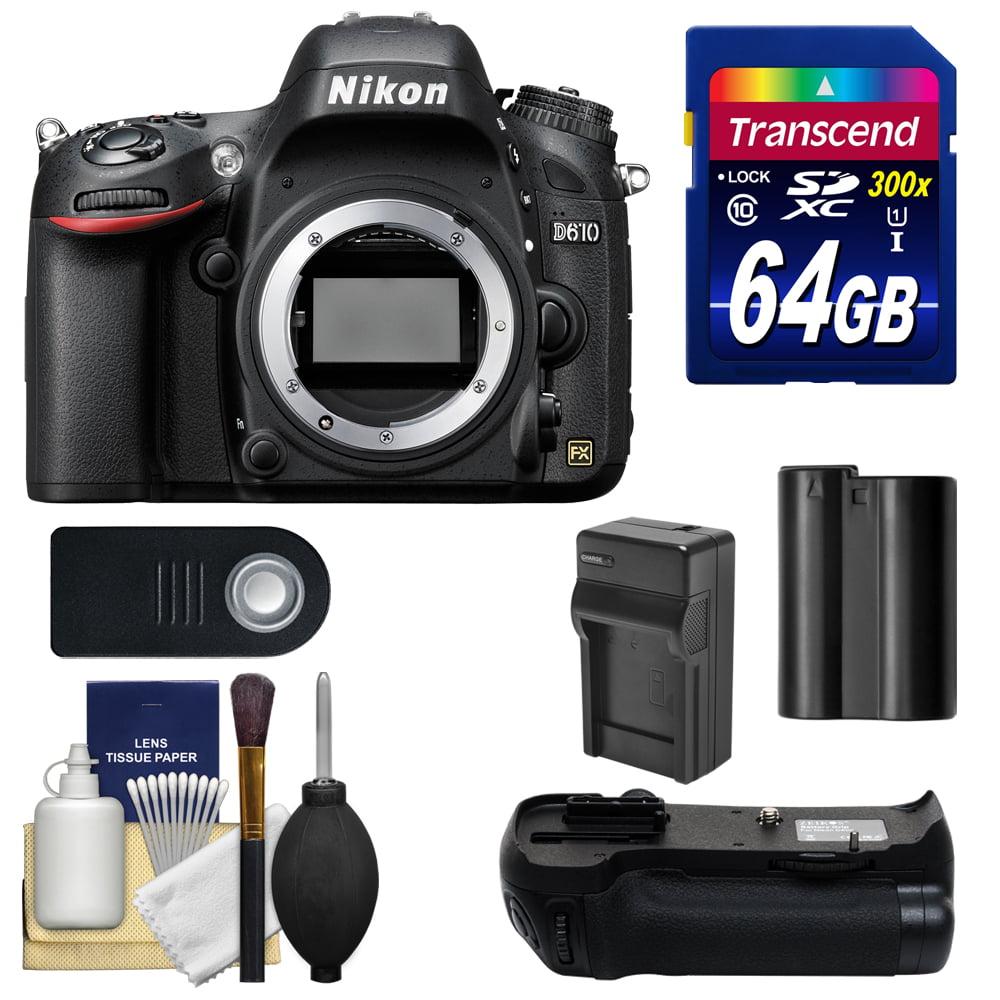 Nikon D610 Digital SLR Camera Body - Factory Refurbished with 64GB Card + Grip & Accessory Kit