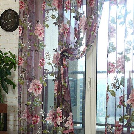 Fancyleo Purple Light Yellow Big Peony Splendid Bedroom Living Room Bay Window Curtain ()