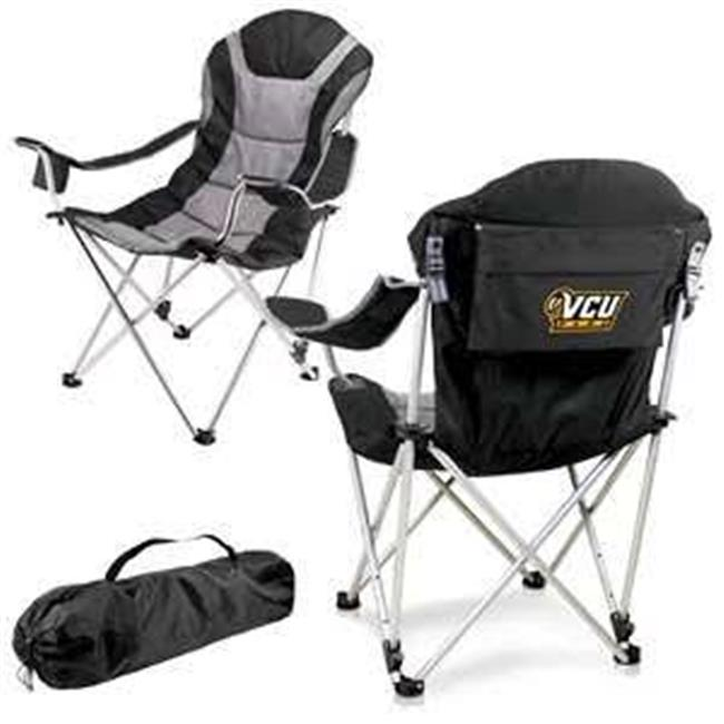 Picnic Time 803-00-175-954-0 Virginia Commonwealth Rams Digital Print Reclining Camp Chair, Black
