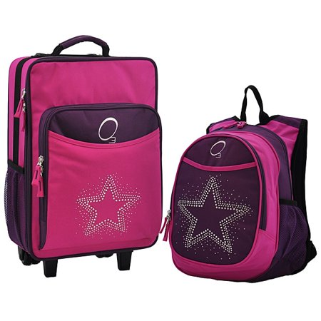O3 Obersee Kids 'Rhinestone Star' 2-piece Backpack and Carry On Upright Luggage Set