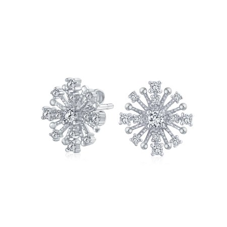 Trendy Fashion Geometric Cubic Zirconia CZ Spray Star Cluster Stud Earrings For Women 925 Sterling Silver - image 2 of 2