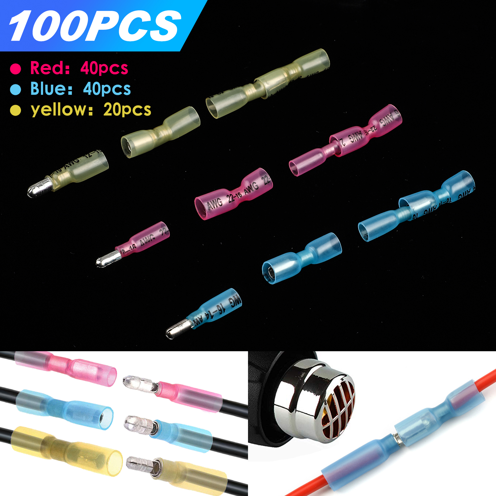 Blue 100pcs Male And Female Bullet Connectors Insulated Wire Crimp Terminals