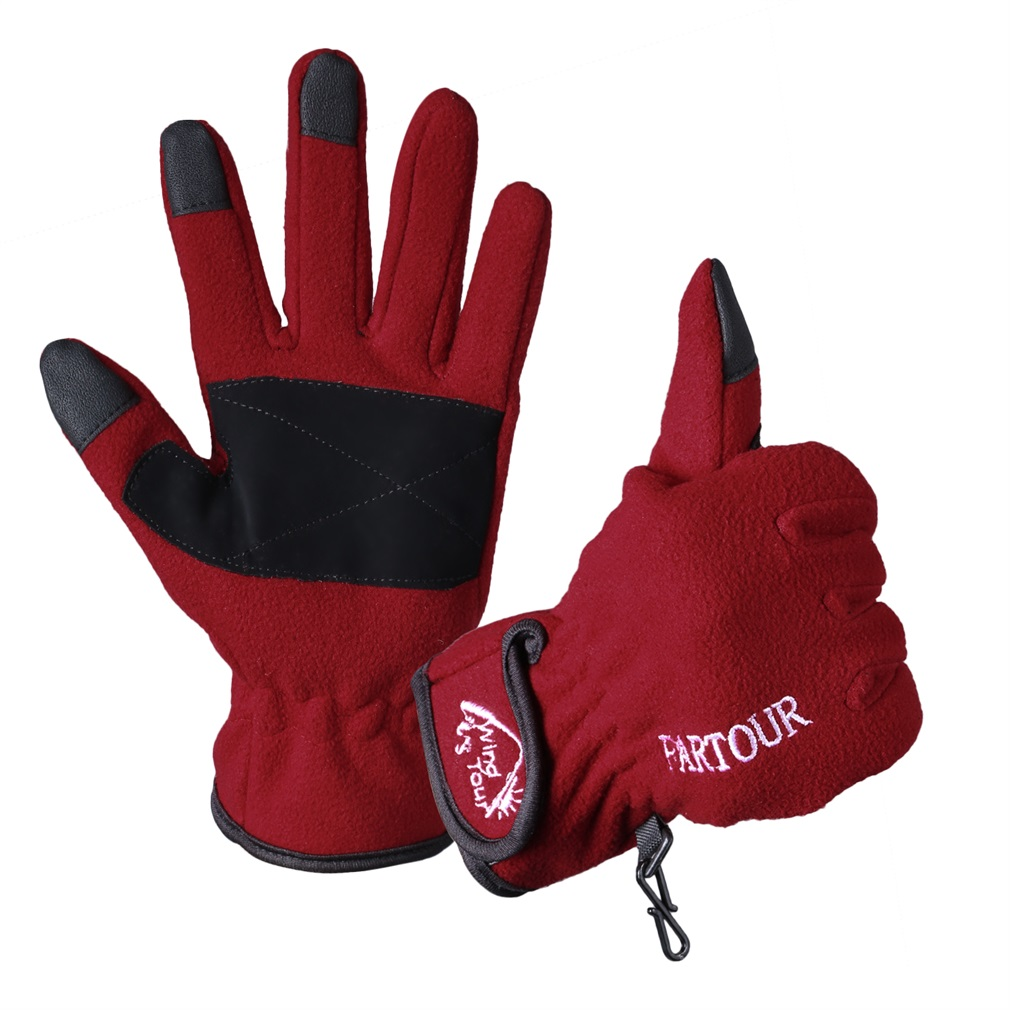 Bicycle Touch Screen Sports Windproof Cycling Warm Full Finger Glove Red by