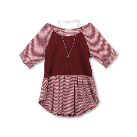 Lace and Stripe Combo Roll Sleeve Top with Necklace (Big Girls)