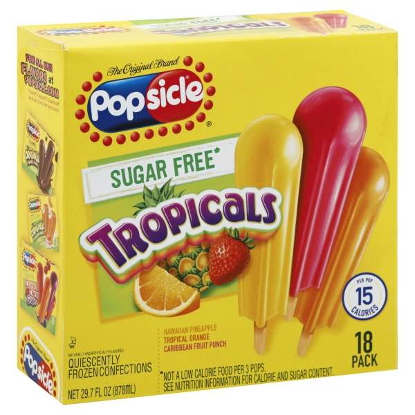 Popsicle Sugarfree Tropical 18 Count
