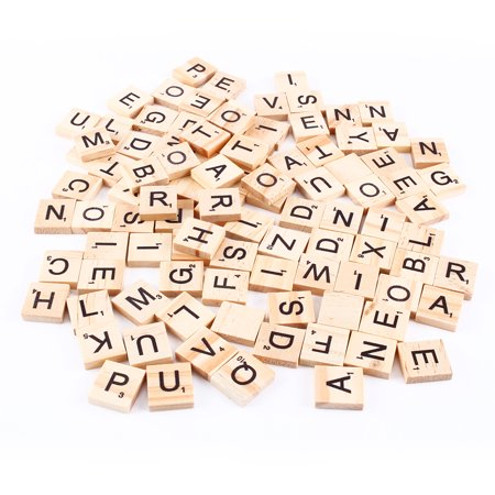 HURRISE 100pcs Scrabble Tiles Letters Alphabet Wooden Pieces Numbers Pendants - Scrabble Tiles Bulk