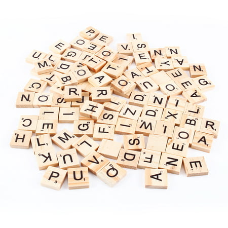 Filfeel 100pcs Scrabble Tiles Letters Alphabet Wooden Pieces Numbers Pendants Spelling