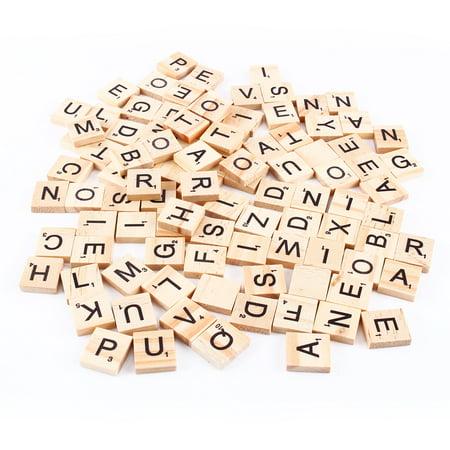 Filfeel 100pcs Scrabble Tiles Letters Alphabet Wooden Pieces Numbers Pendants - Halloween Spelling Games Online