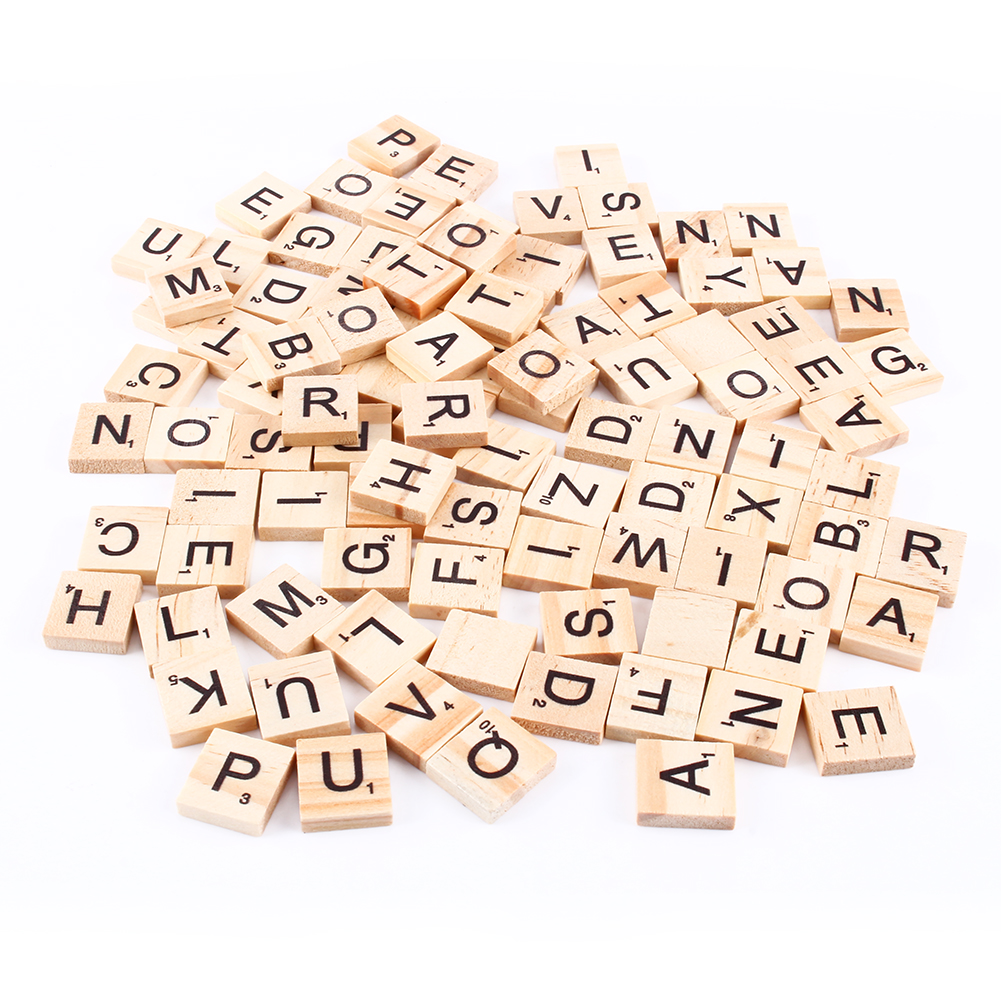 Yosoo 100pcs Scrabble Tiles Letters Alphabet Wooden Pieces Numbers Pendants Spelling,Black letters with letter values. Finished to a high quality light wood grain smooth finish