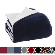 "Elegant Comfort Luxury Micro-Sherpa 50"" X 60"" Ultra Plush Throw/Blanket, (50 x 60), Solid Navy Blue"