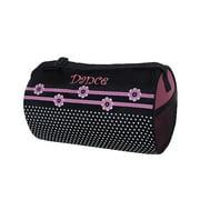 Sassi Design Girls Black Pink Flowers Dots Small Roll Duffel Dance Bag