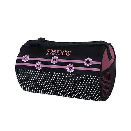- Sassi Design Girls Black Pink Flowers Dots Small Roll Duffel Dance Bag