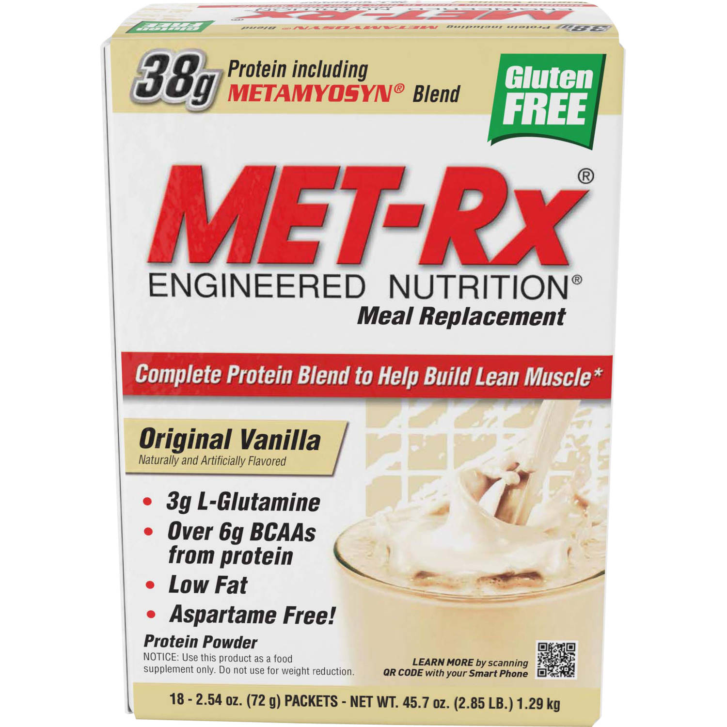 MET-Rx Meal Replacement Original Vanilla Protein Powder, 2.54 oz, 18 count