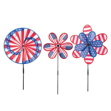 Patriotic Americana Wind Spinners - Set Of 3, Multi