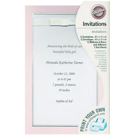 Baby Shower Custom Print Pink Announcement w/ Envelopes (12ct)