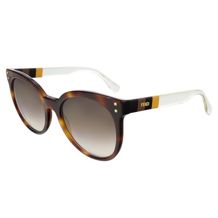 Fendi FF0083S 0E6Z Havana/Penquin Yellow Crystal Round (Fendi Sunglasses Sale)