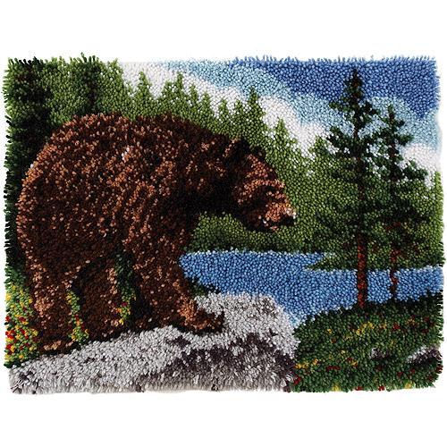 "Wonderart Classic Latch Hook Kit 20"" x 30"", Grizzly Bear"