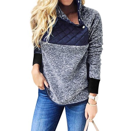 794a6d01a Nlife - Nlife Women s High Neck Oblique 1 4 Button Up Fuzzy Fur ...