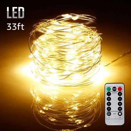 TORCHSTAR 33ft 100 LEDs String Lights, Waterproof Dimmable Fairy Lights, Warm White ()