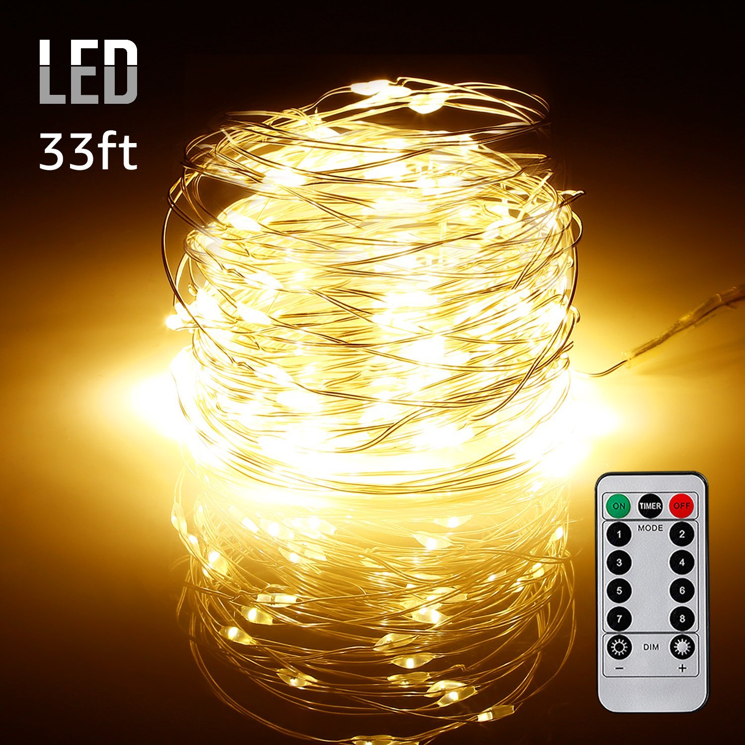 TORCHSTAR 33ft 100 LEDs String Lights, Outdoor USB Dimmable Starry String Lights, Warm White
