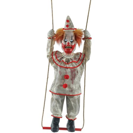 Swinging Happy Clown Doll Animated Halloween - Pretty Clown Faces For Halloween