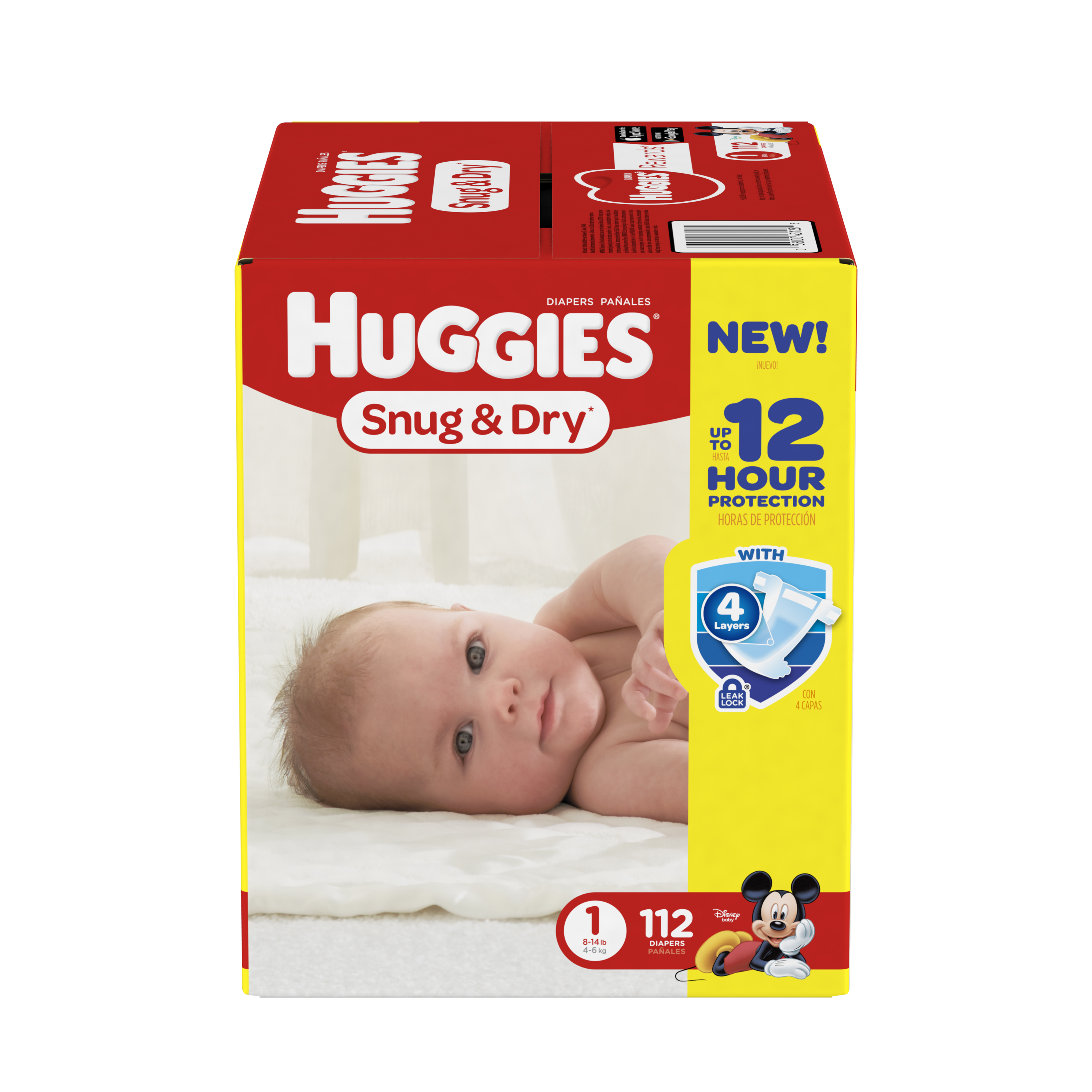 HUGGIES Snug & Dry Diapers, Size 1, 112 Diapers