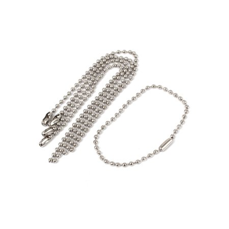 2.4mmx 155mm Stainless Steel Beaded Ball Chain Keychain Silver Tone 5pcs - Beaded Keychains