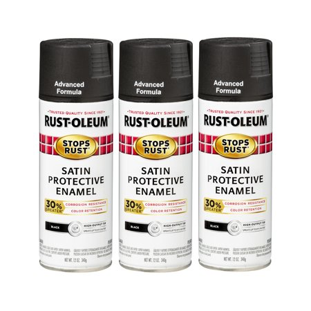 (3 Pack) Rust-Oleum Stops Rust Advanced Satin Black Protective Enamel Spray Paint, 12 oz - Blacklight Spray