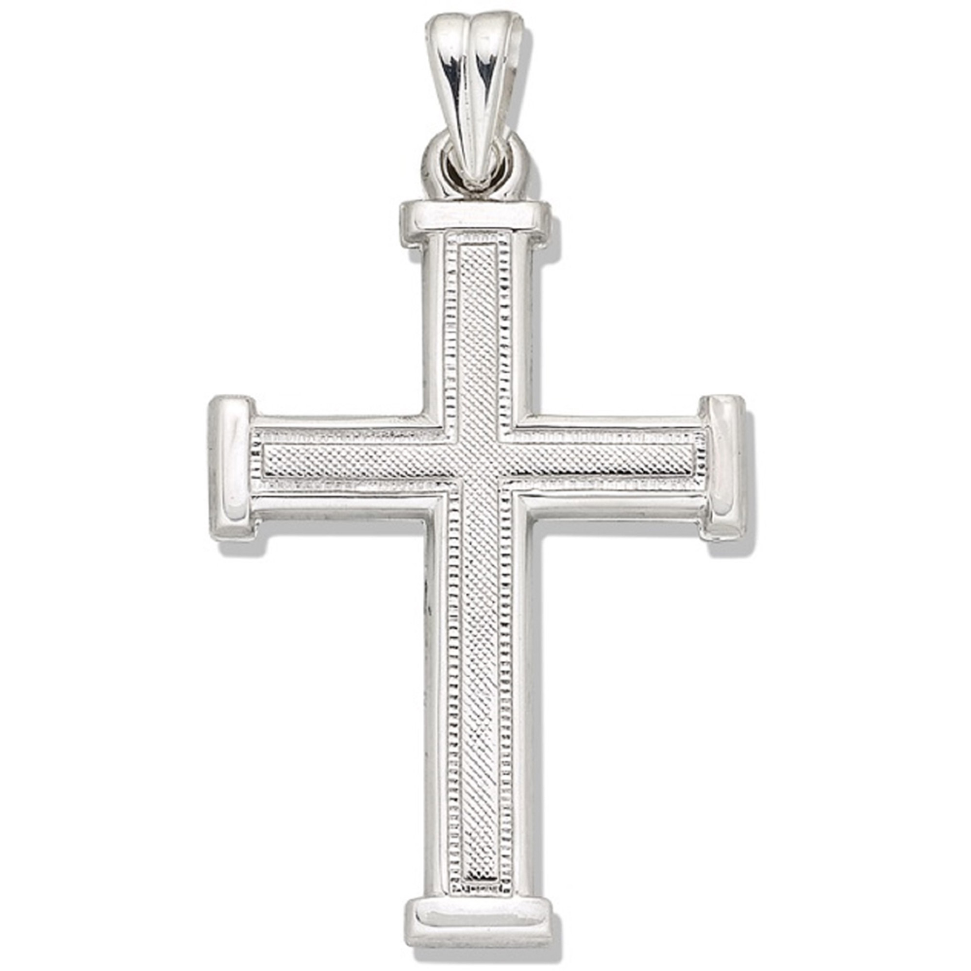 """Sterling Silver Cross with Textured Top and Bar Edge Frame, 18"""""""