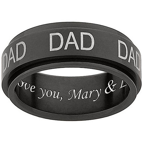 "Personalized Men's Black Titanium ""DAD"" Engraved Spinner Band"