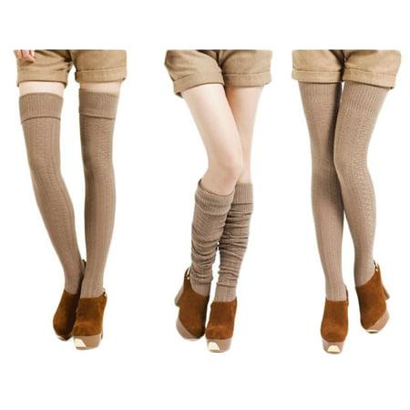 Lian Lifestyle Womens 1 Pair Fashion Thigh High Cotton Socks Size 6 9 Grey
